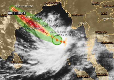 Alerte rouge cyclone tropical en INDE HUDHUD-14